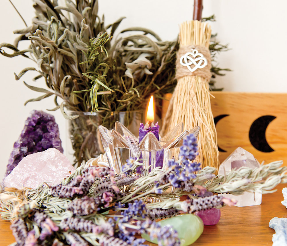 witch's altar, witchcraft in the U.S., paganism in the U.S., Druidism, Crazy Wisdom Journal, meditation